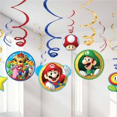 Super mario swirl decoratie 6-delig