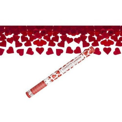 Party popper hartjes rood 60 cm