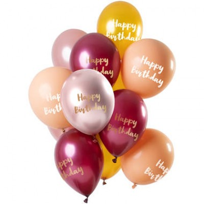 Helium ballonnen boeket happy birthday golden morgenite 12-delig