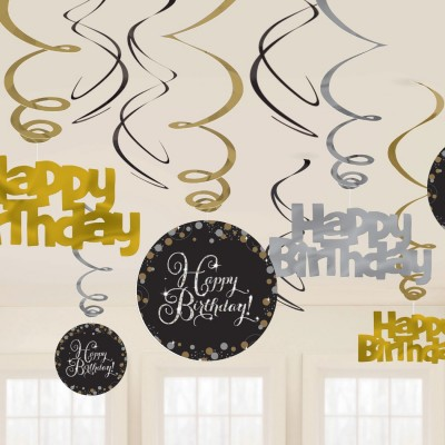 Sparkling swirls goud Happy Birthday