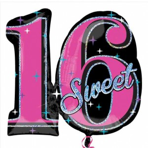 Sweet Sixteen Folie Ballon 66 x 71 cm