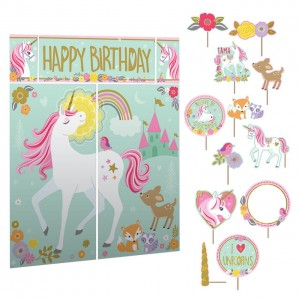 Unicorn magical scene setter met photo props