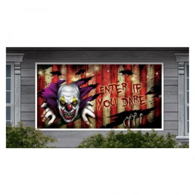 Creepy clown banner 85 x 165 cm