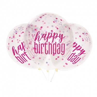 Helium Ballon Confetti Roze Happy Birthday