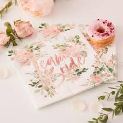Team Bride Floral servetten 16 stuks