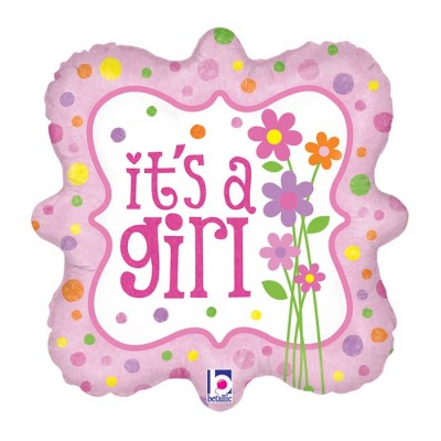 Helium Ballon It's a Girl Flowers 46 cm