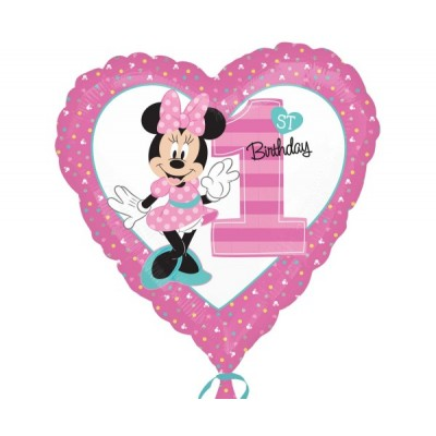 Minnie mouse folie ballon hart 1st birthday