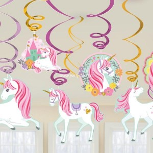Unicorn magical swirl decoratie 12 stuks