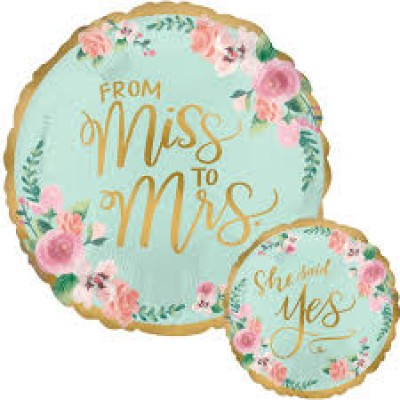 Folie ballon from miss to mrs 45 cm