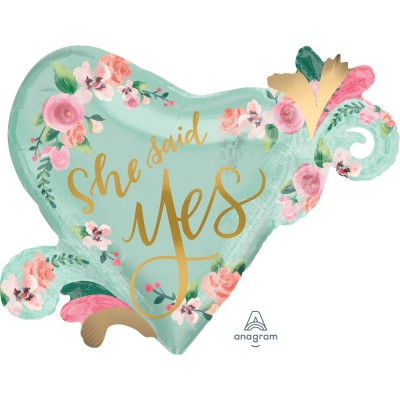 Helium Ballon Mint To Be She Said Yes 81 x 66 cm