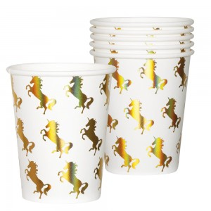 Unicorn gold drinkbekers 6 stuks